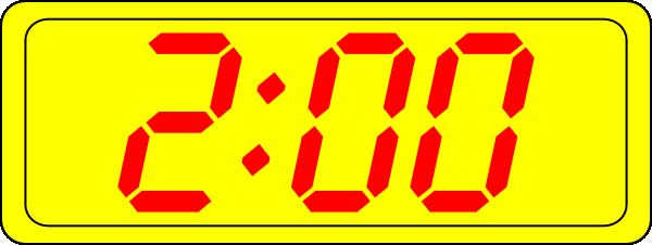 free vector Digital Clock 2:00 clip art