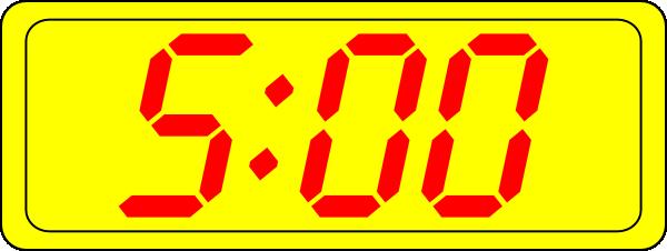 free vector Digital Clock 5:00 clip art