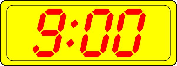 free vector Digital Clock 9:00 clip art