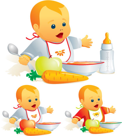 free vector Dining babies