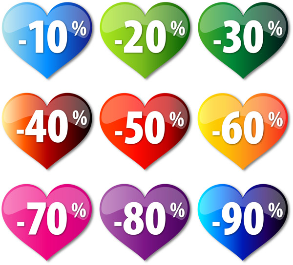 free vector Discount crystal heartshaped vector