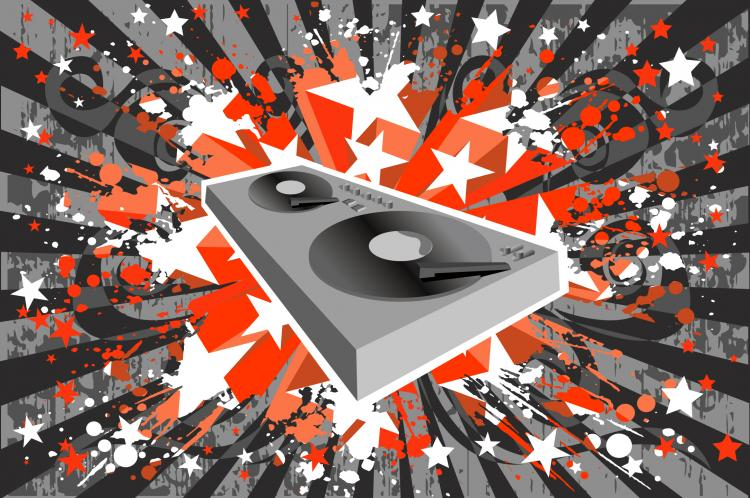 free vector Dj music player with the trend of the background elements of vector