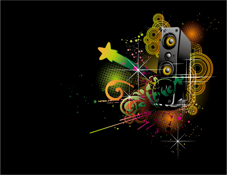 free vector Dj music theme vector
