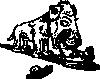 free vector Dog Eating Sausage clip art