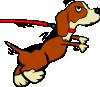 free vector Dog On Leash Cartoon clip art