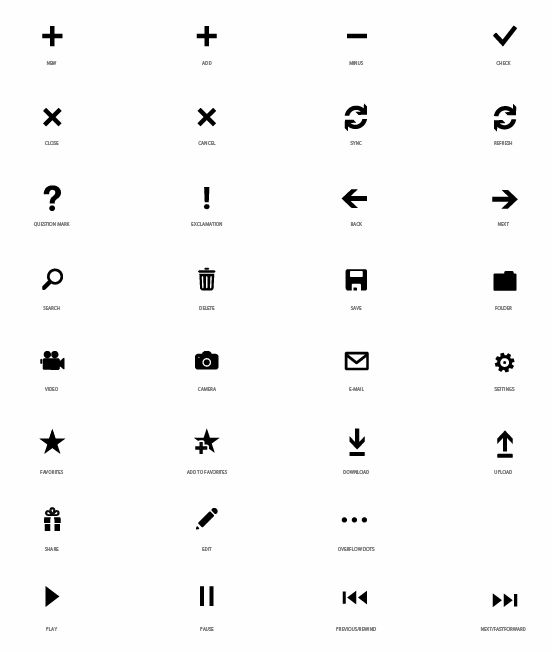 free vector [Download] Application Bar Icons for Windows Phone 7 Series