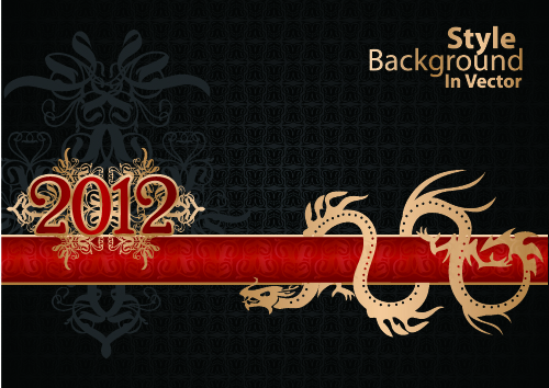 free vector Dragon calendar year background 01 vector