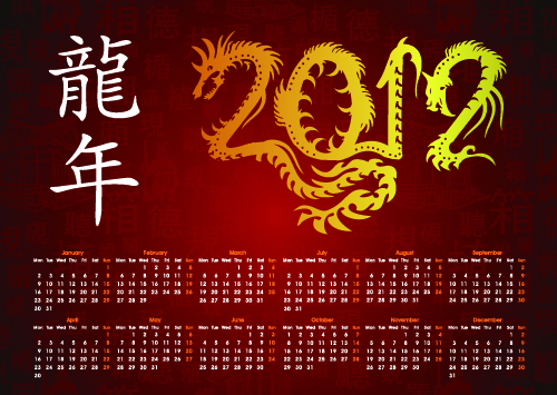 free vector Dragon calendar year background 02 vector