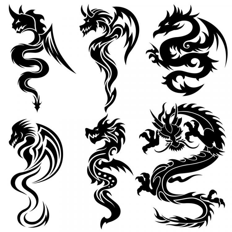 free vector Dragonshaped pattern 07 vector