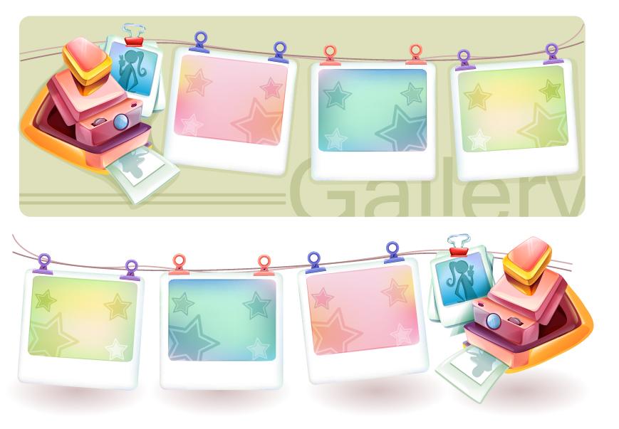 free vector Dream polaroid camera and photo frame vector