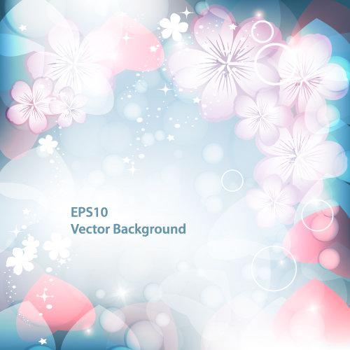 free vector Dream vector background 1 flashing flowers
