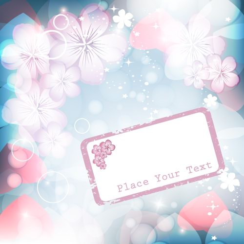 free vector Dream vector background 2 flashing flowers
