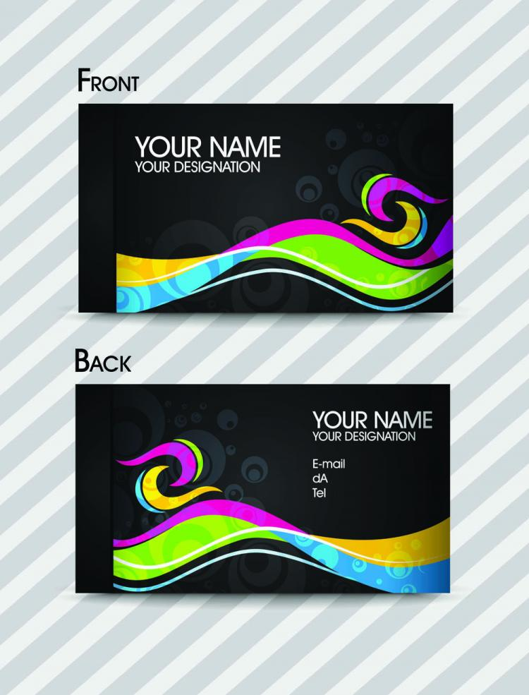 Dynamic color business card templates 02 vector free for Business card colors