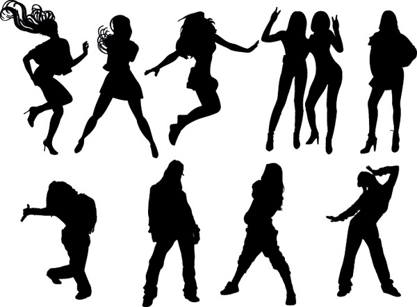 free vector Dynamic figures silhouette vector