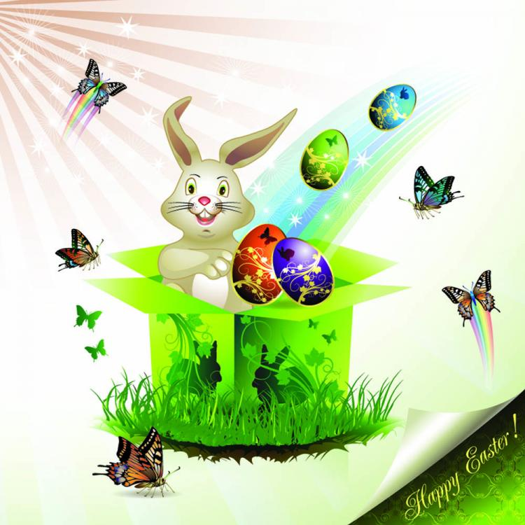 free vector Easter cards and decorations butterfly eggs 02 vector