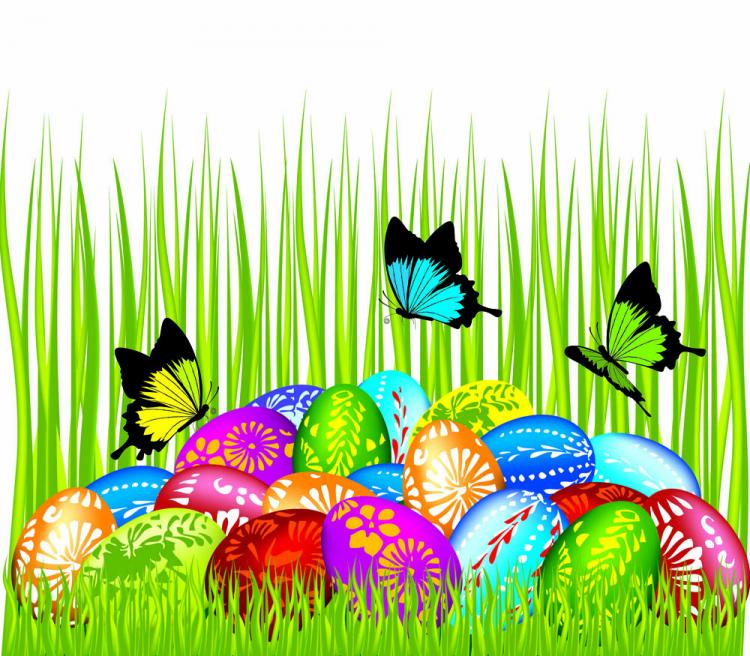 free vector Easter cards and decorations butterfly eggs 04 vector