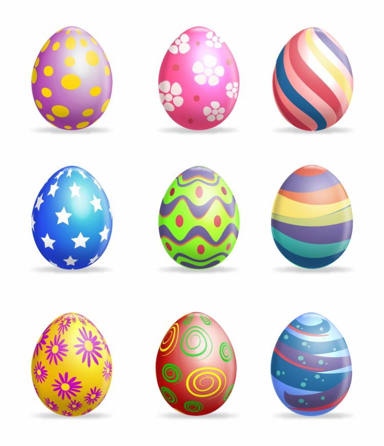 easter eggs on grass free vector 4vector