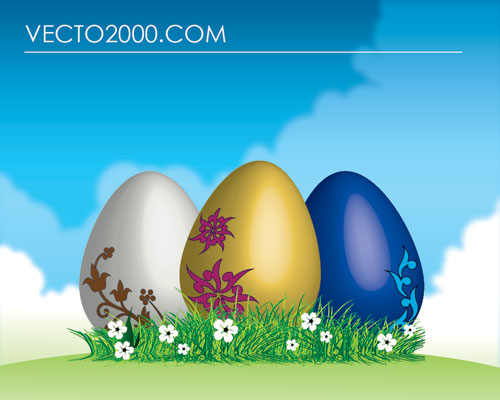 free vector Easter eggs on green grass