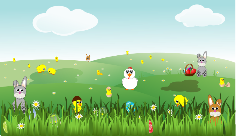 easter landscape with bunnies chicks eggs chicken flowers free