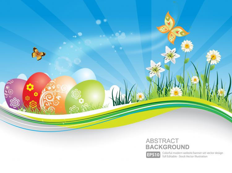 free vector Easter Natural Banner With Eggs Background Blue Butterfly