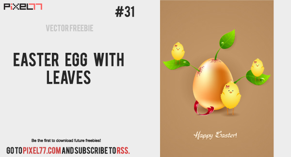 free vector Easter Vector Card Egg with Leaves