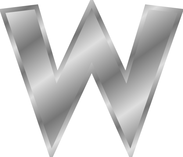free vector Effect Letters Alphabet Silver W clip art