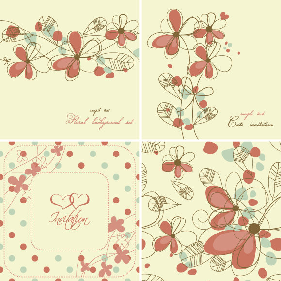 free vector Elegant floral background pattern 04 vector