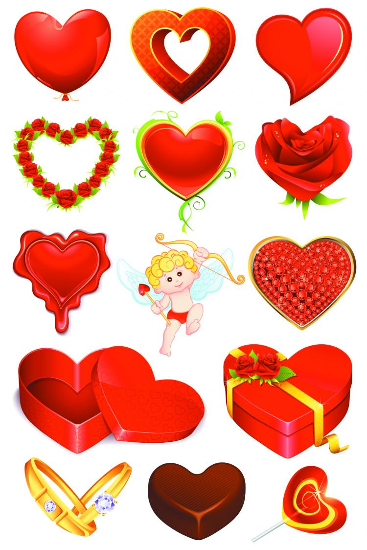 free vector Elements of romantic valentine39s day 01 vector