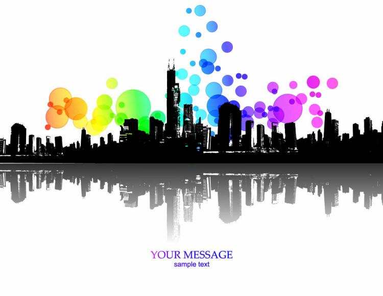 free vector Elements of the trend and urban silhouette 02 vector