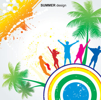 free vector Elements of vector colorful beach swelters