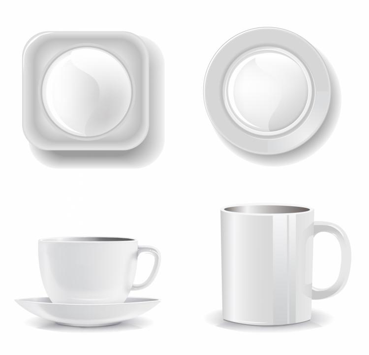 free vector Empty cups and plates on a white