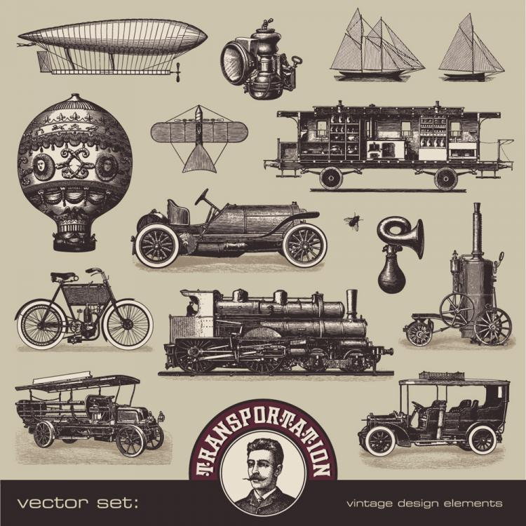 free vector European and american vintage vehicles 01 vector