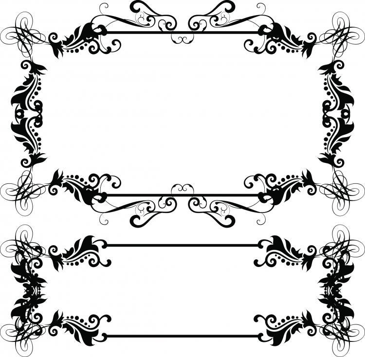 Line Art Border Design : European border pattern vector free