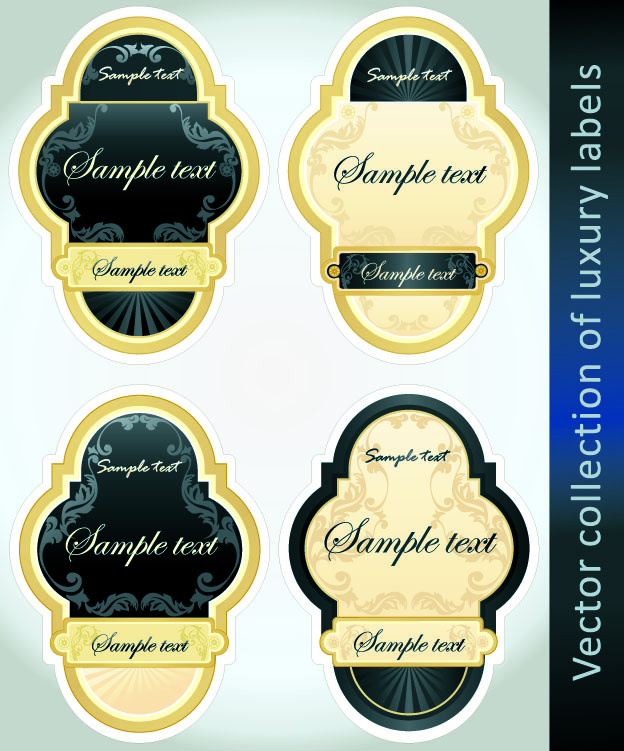free vector European classic bottle label stickers vector