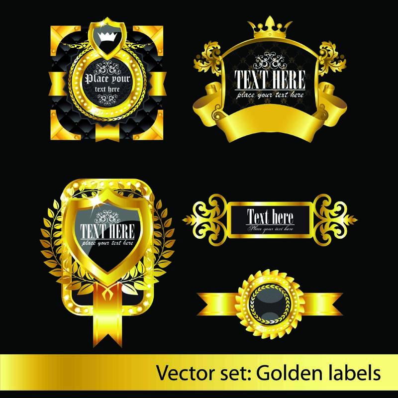 free vector European classic pattern label 02 vector