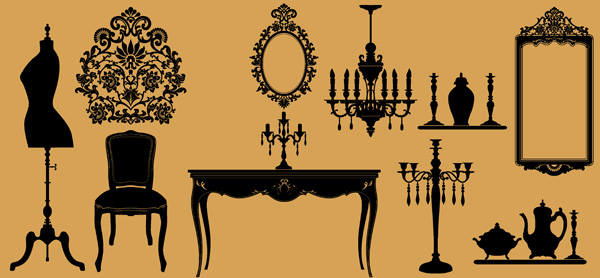 european classical furniture silhouette vector free vector