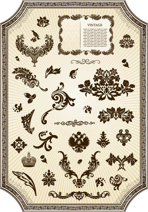 free vector European classical pattern vector frame