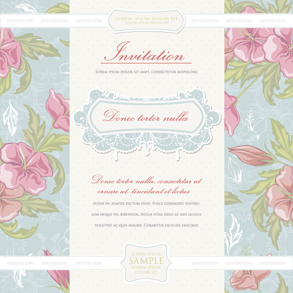 free vector European classical vector flowers cover 1