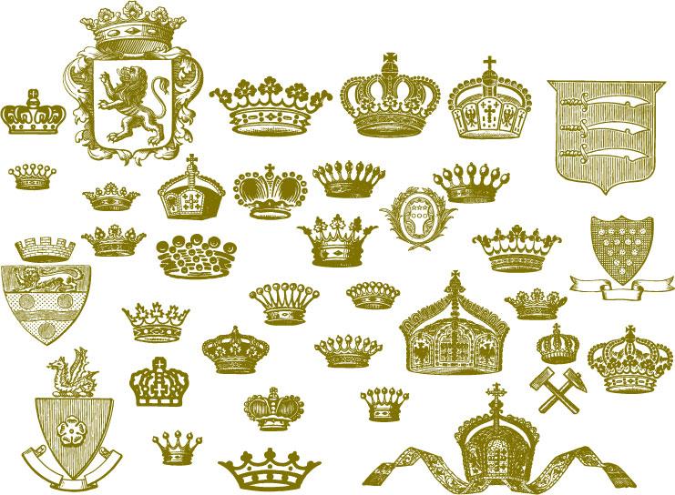 free vector European crown series vector