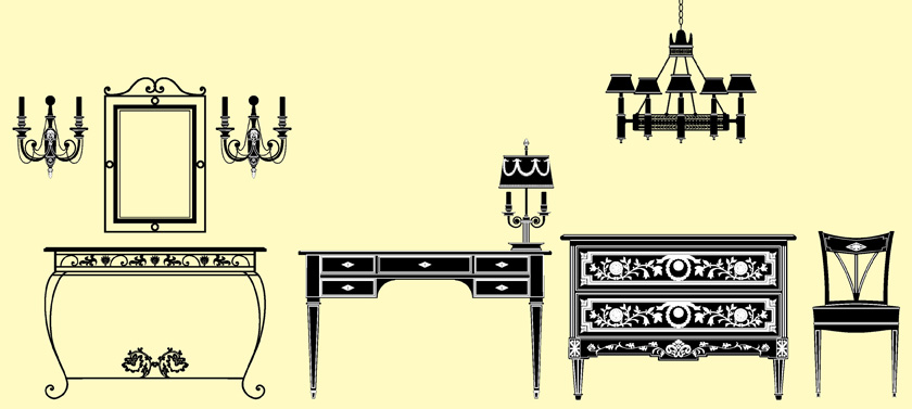 free vector European furniture lighting decoration vector