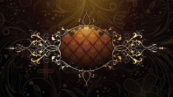free vector European gold border shading pattern vector