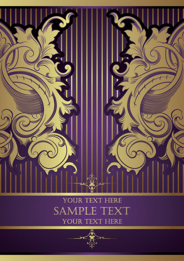 free vector European gorgeous gold lace pattern vector
