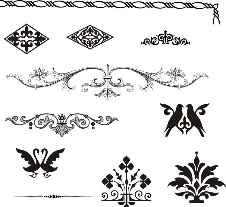 European gorgeous pattern element vector Free Vector / 4Vector