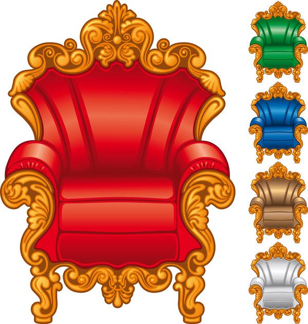 free vector European gorgeous single sofa vector
