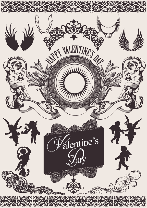 free vector European gorgeous valentine day theme classic lace pattern vector