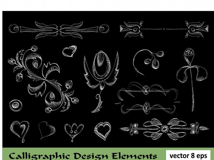free vector European lace pattern line draft 02 vector