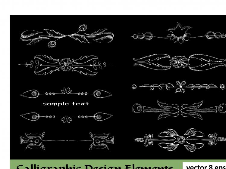 free vector European lace pattern line draft 03 vector