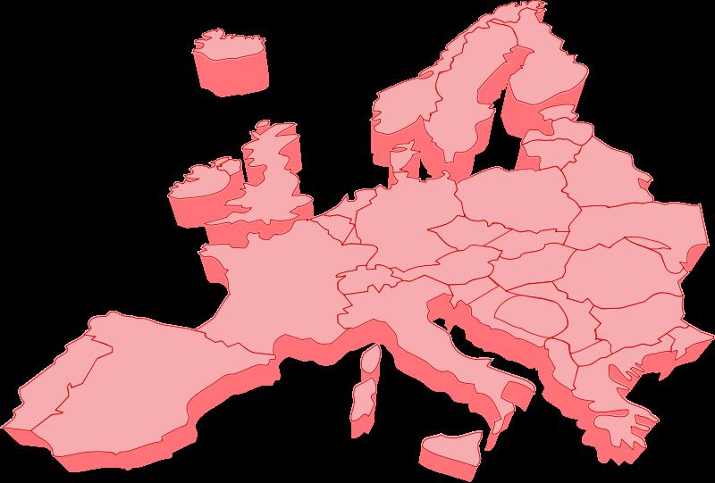 free vector European map 3D