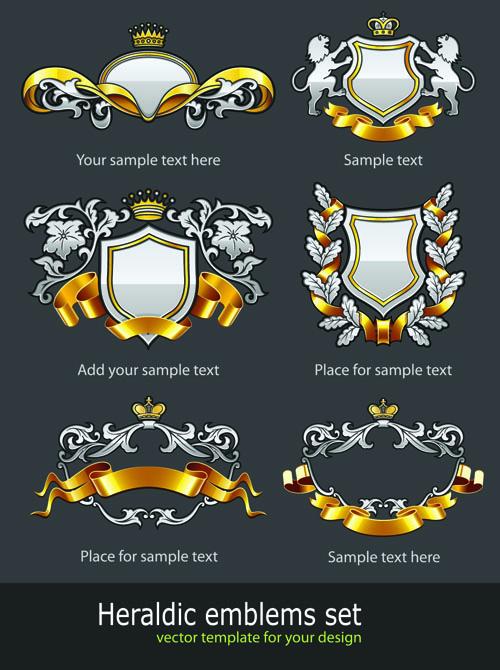 free vector European pattern badge 01 vector
