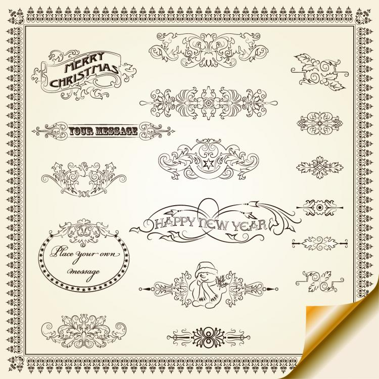 free vector European pattern border 02 vector